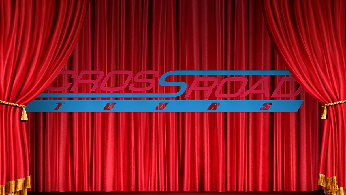 The Crossroad Tours logo in front of a classic theater curtain.
