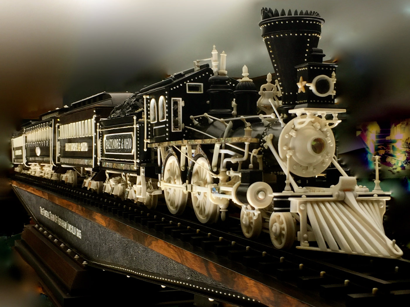 A fancy and intricate model train at Warther's Train Museum.