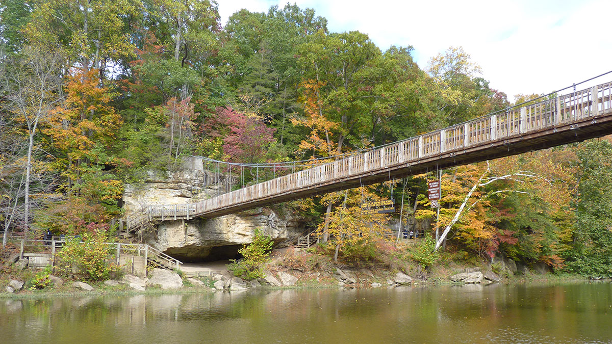 Bridge crossing over river at Turkey Run State Park. Photo by Sue Sekut.
